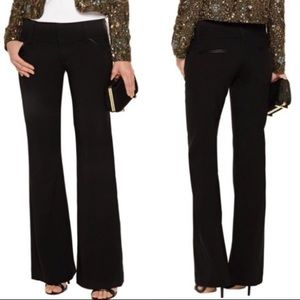 Alice + Olivia Black Leather Trim Trouser Pants